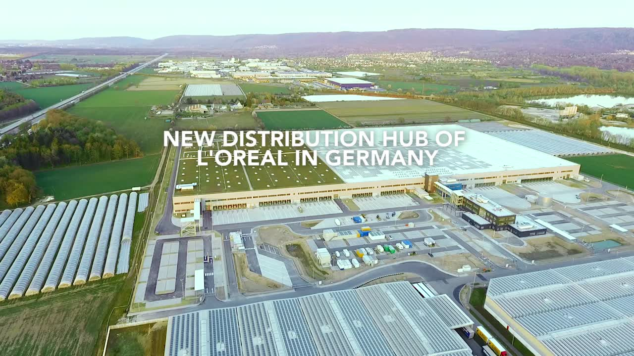 """L'Oréal on LinkedIn: """"L'Oréal's world's largest and CO2-neutral distribution center just opened in Germany! The property covers an area of 100,000 square meters. 390 million products per year will be delivered to three countries – in a very sustainable way: We use energy from wind power plants, there are 7,400 solar modules on the roof and a green area of 30,000 square meters where birds will be home. """""""